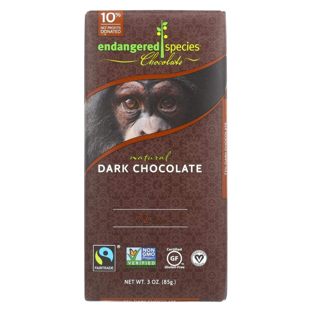 Endangered Species Chocolate Chocolate Endangered Species Natural Chocolate Bars - Dark Chocolate - 72 Percent Cocoa - 3 Oz Bars - Case Of 12
