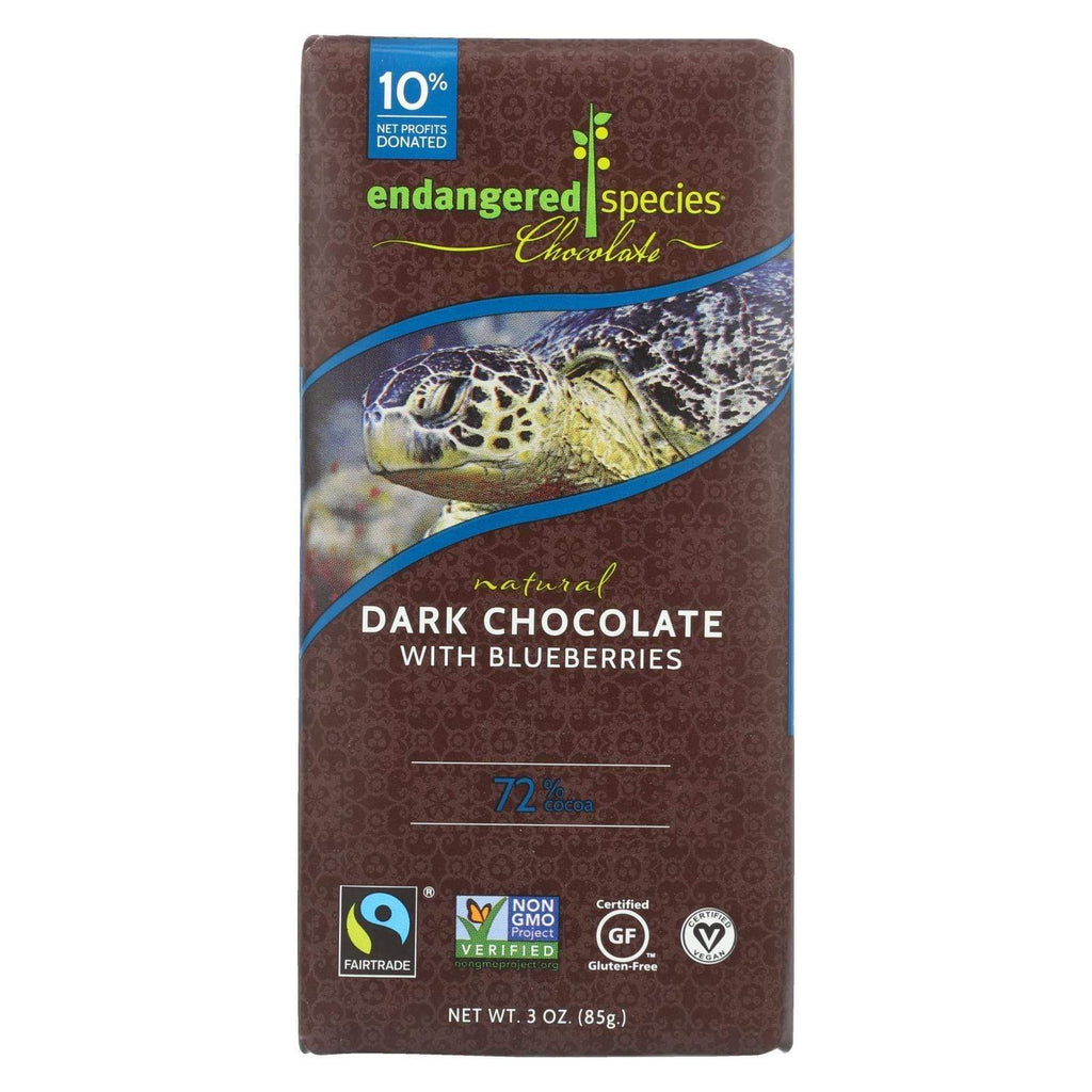 Endangered Species Chocolate Chocolate Endangered Species Natural Chocolate Bars - Dark Chocolate - 72 Percent Cocoa - Blueberries - 3 Oz Bars - Case Of 12
