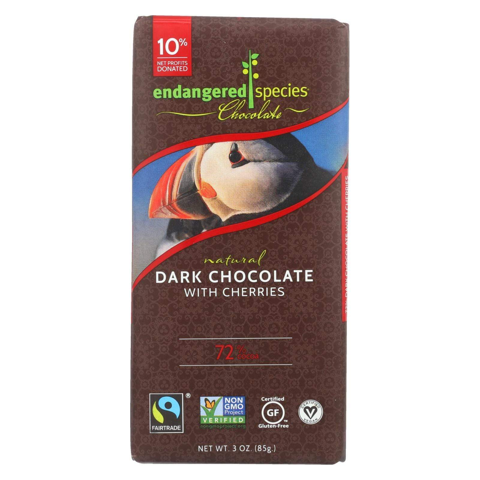 Endangered Species Chocolate Chocolate Endangered Species Natural Chocolate Bars - Dark Chocolate - 72 Percent Cocoa - Cherries - 3 Oz Bars - Case Of 12