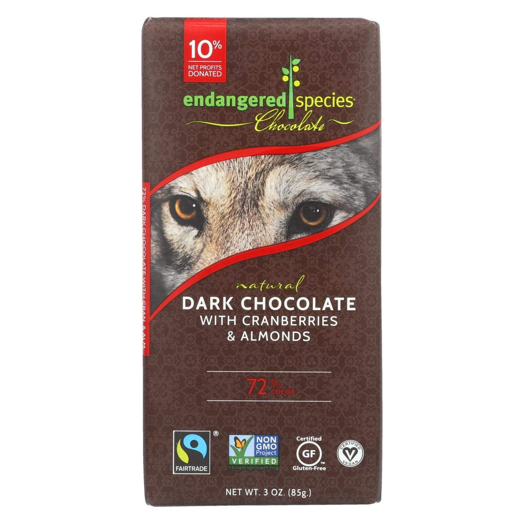 Endangered Species Chocolate Chocolate Endangered Species Natural Chocolate Bars - Dark Chocolate - 72 Percent Cocoa - Cranberries And Almonds - 3 Oz Bars - Case Of 12