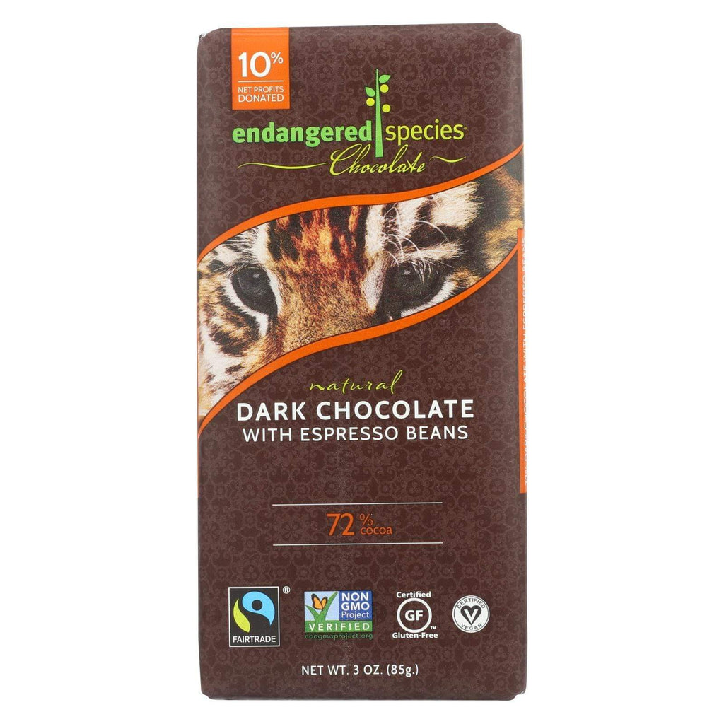 Endangered Species Chocolate Chocolate Endangered Species Natural Chocolate Bars - Dark Chocolate - 72 Percent Cocoa - Espresso Beans - 3 Oz Bars - Case Of 12