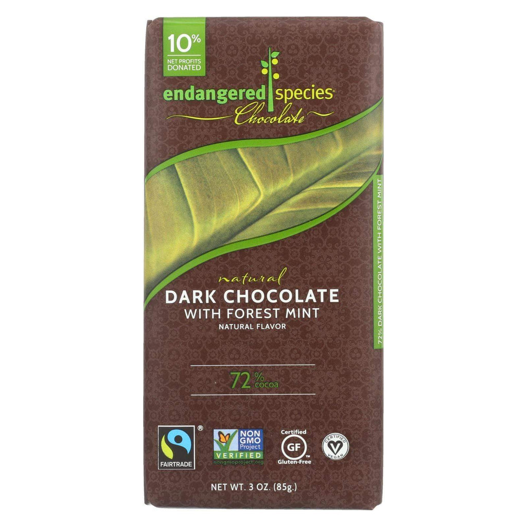 Endangered Species Chocolate Chocolate Endangered Species Natural Chocolate Bars - Dark Chocolate - 72 Percent Cocoa - Forest Mint - 3 Oz Bars - Case Of 12