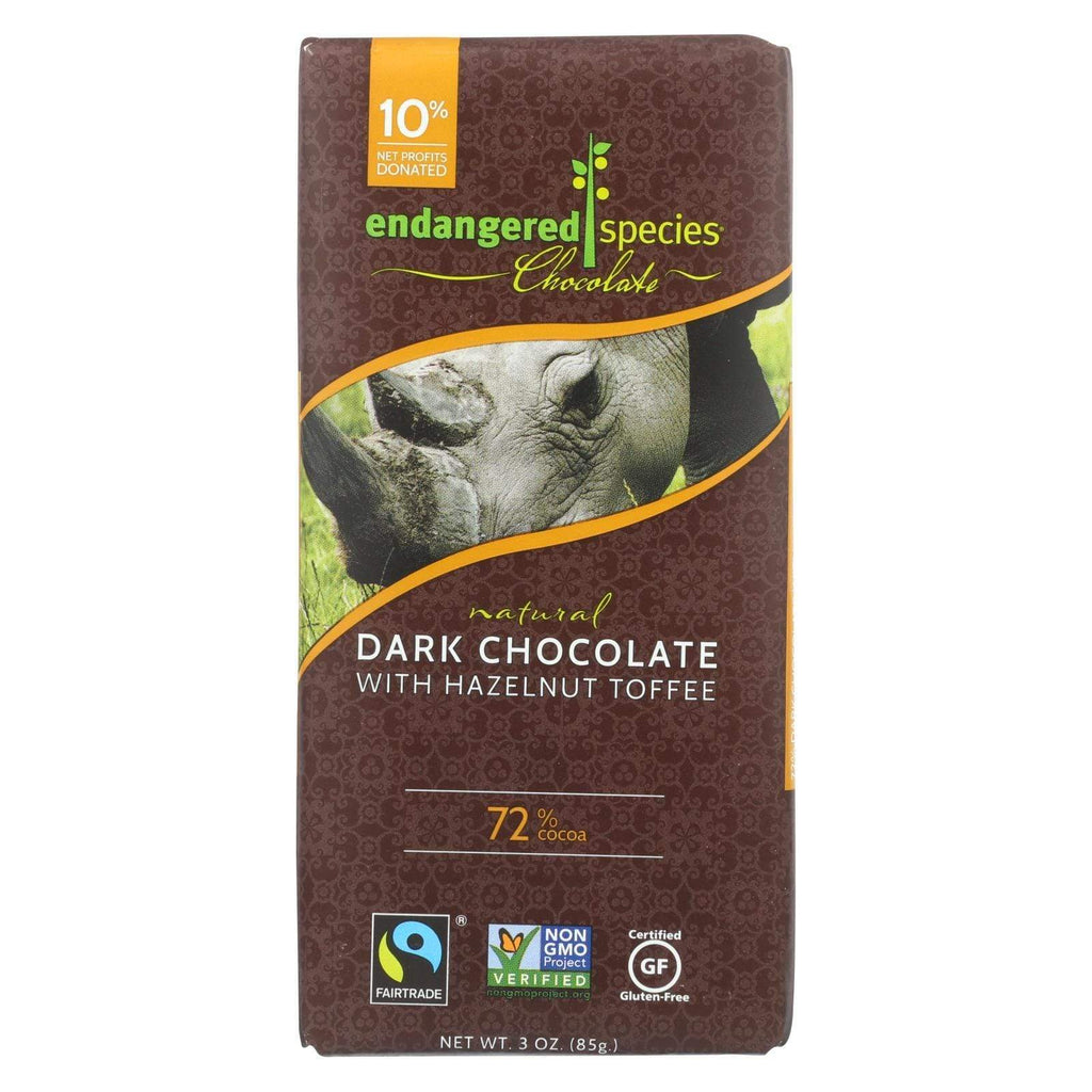 Endangered Species Chocolate Chocolate Endangered Species Natural Chocolate Bars - Dark Chocolate - 72 Percent Cocoa - Hazelnut Toffee - 3 Oz Bars - Case Of 12
