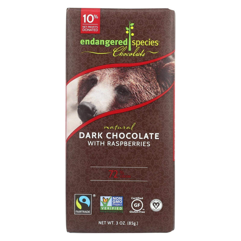 Endangered Species Chocolate Chocolate Endangered Species Natural Chocolate Bars - Dark Chocolate - 72 Percent Cocoa - Raspberries - 3 Oz Bars - Case Of 12