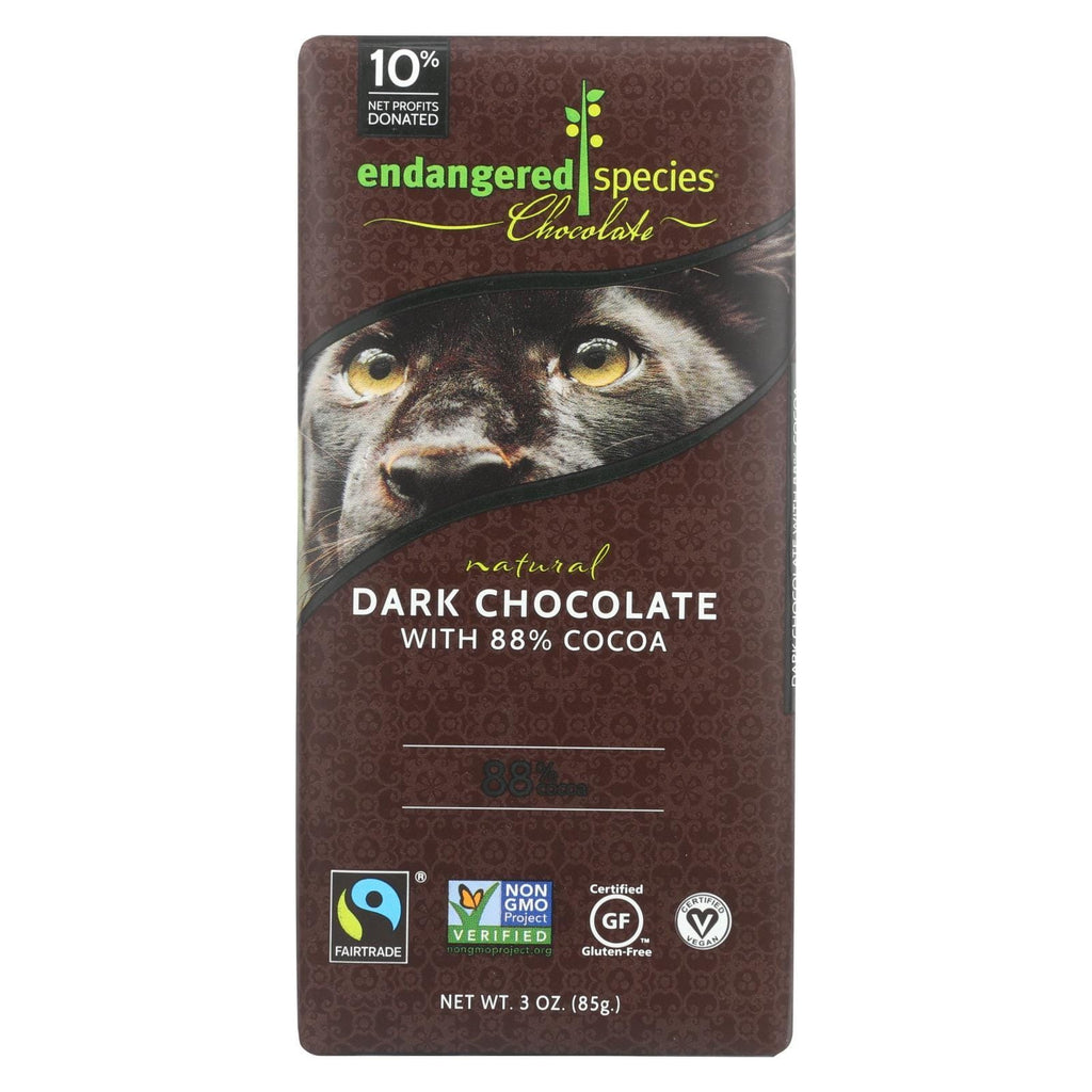 Endangered Species Chocolate Chocolate Endangered Species Natural Chocolate Bars - Dark Chocolate - 88 Percent Cocoa - 3 Oz Bars - Case Of 12