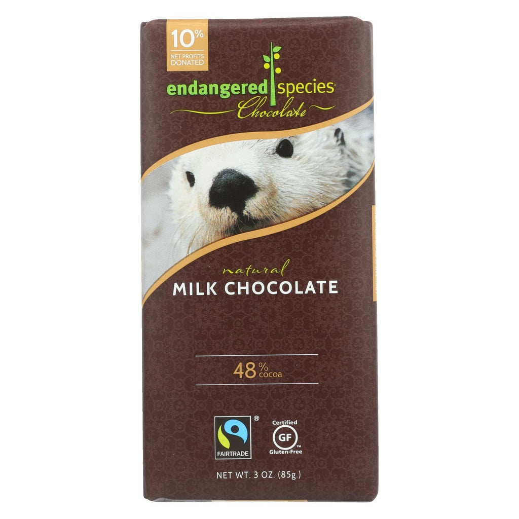 Endangered Species Chocolate Chocolate Endangered Species Natural Chocolate Bars - Milk Chocolate - 48 Percent Cocoa - 3 Oz Bars - Case Of 12