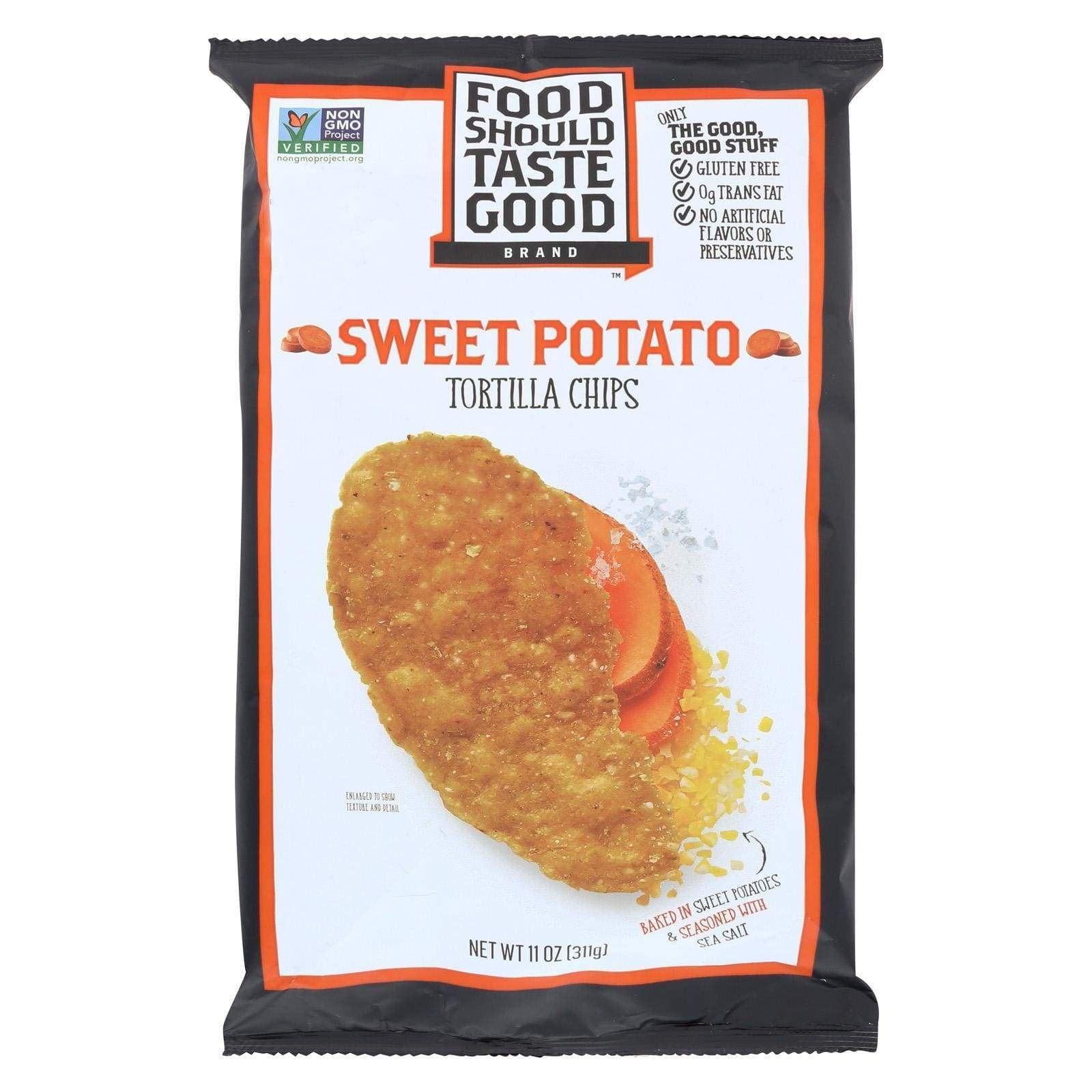 Food Should Taste Good Chips, Pretzels & Popcorn Food Should Taste Good Sweet Potato Tortilla Chips - Sweet Potato - Case Of 12 - 11 Oz.