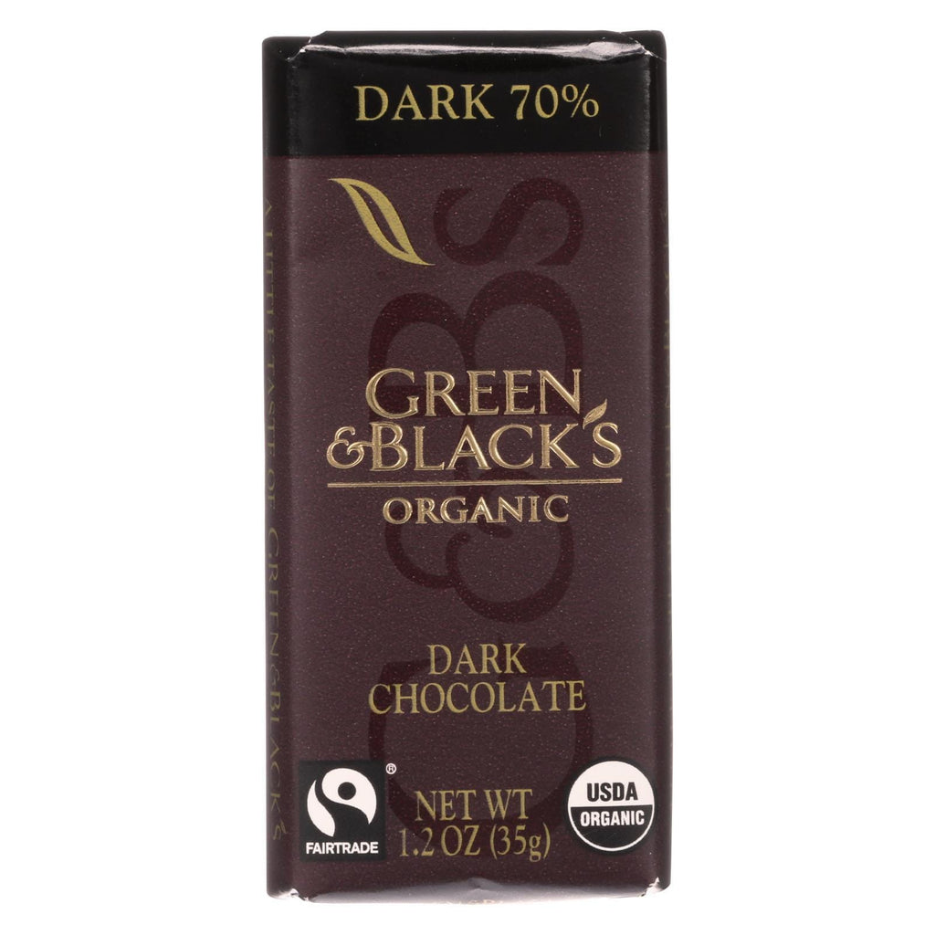 Green And Black's Chocolate Green And Black's Organic Chocolate Bars - Bittersweet Dark Chocolate - 70 Percent Cacao - Impulse Bars - 1.2 Oz - Case Of 20
