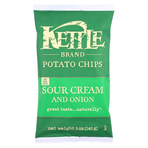 Kettle Brand Chips, Pretzels & Popcorn Kettle Brand Potato Chips - Sour Cream And Onion - Case Of 15 - 5 Oz.