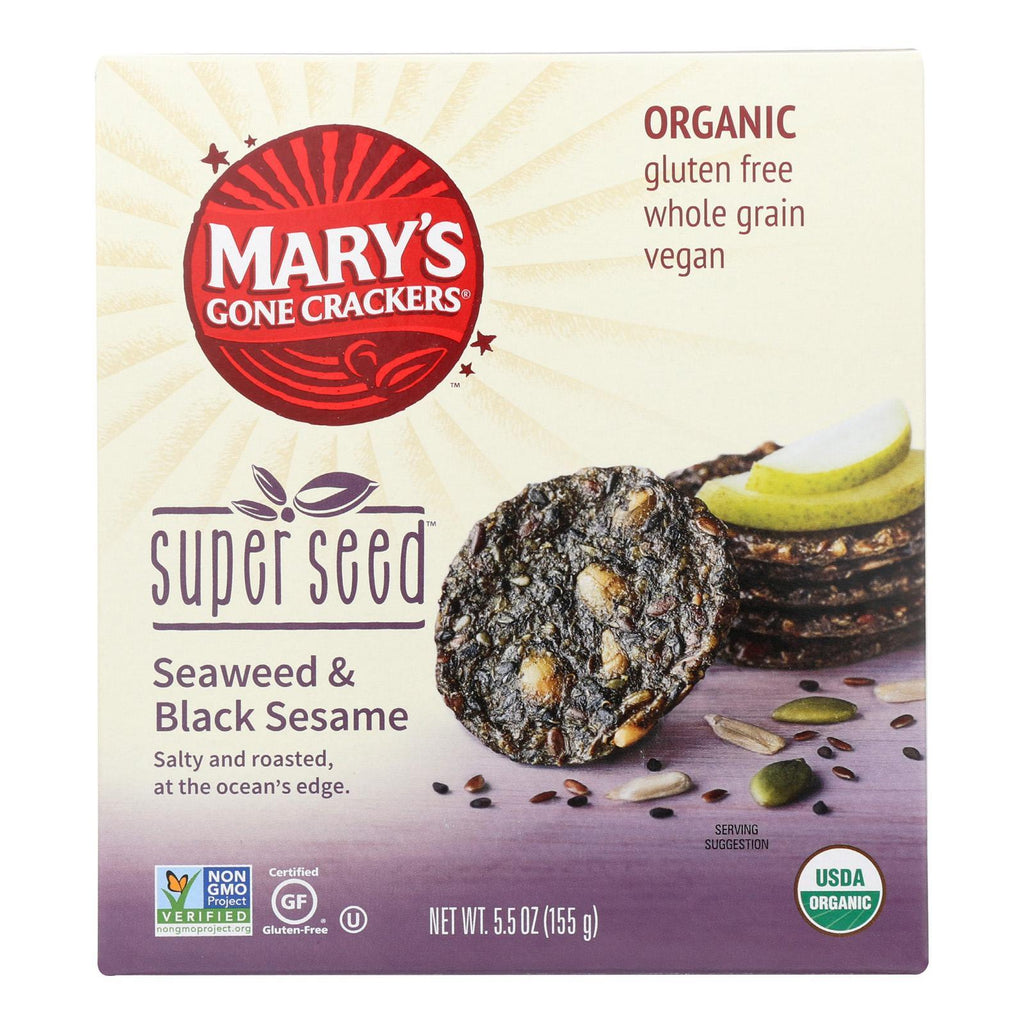 Mary's Gone Crackers Crackers & Crispbreads Mary's Gone Crackers Super Seed - Seaweed And Black Seaseem - Case Of 6 - 5.5 Oz High in protein and provides energy boost.