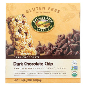 Nature's Path Chips, Pretzels & Popcorn Nature's Path Organic Granola Bar - Dark Chocolate Chip - Case Of 6 - 6.2 Oz.
