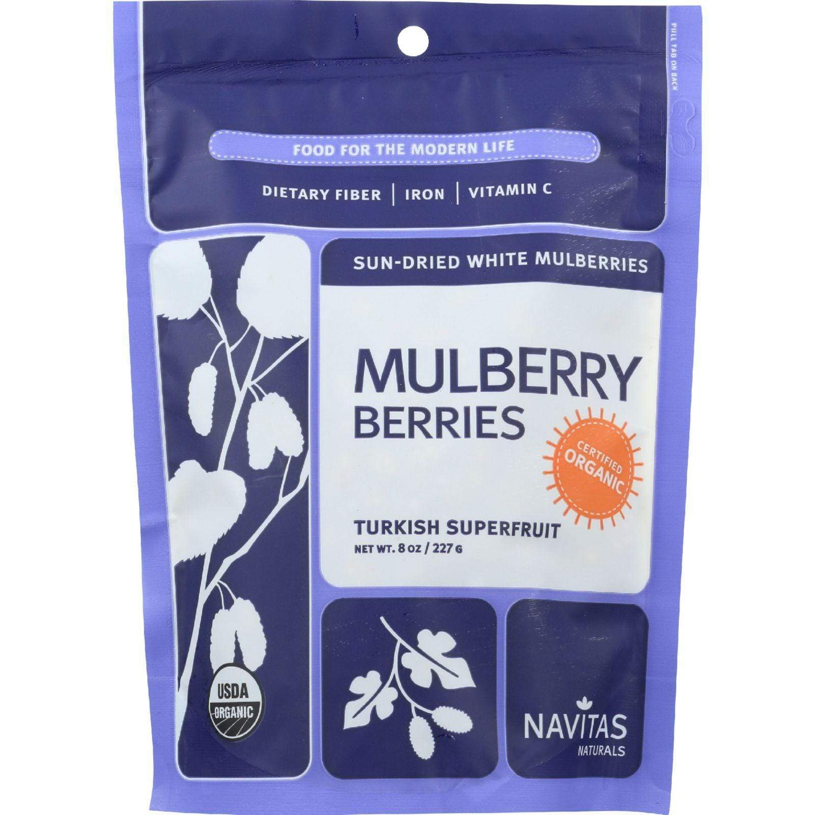 Navitas Naturals Energy Bars & Snacks Navitas Naturals Mulberry Berries - Organic - Sun-dried - 8 Oz - Case Of 12