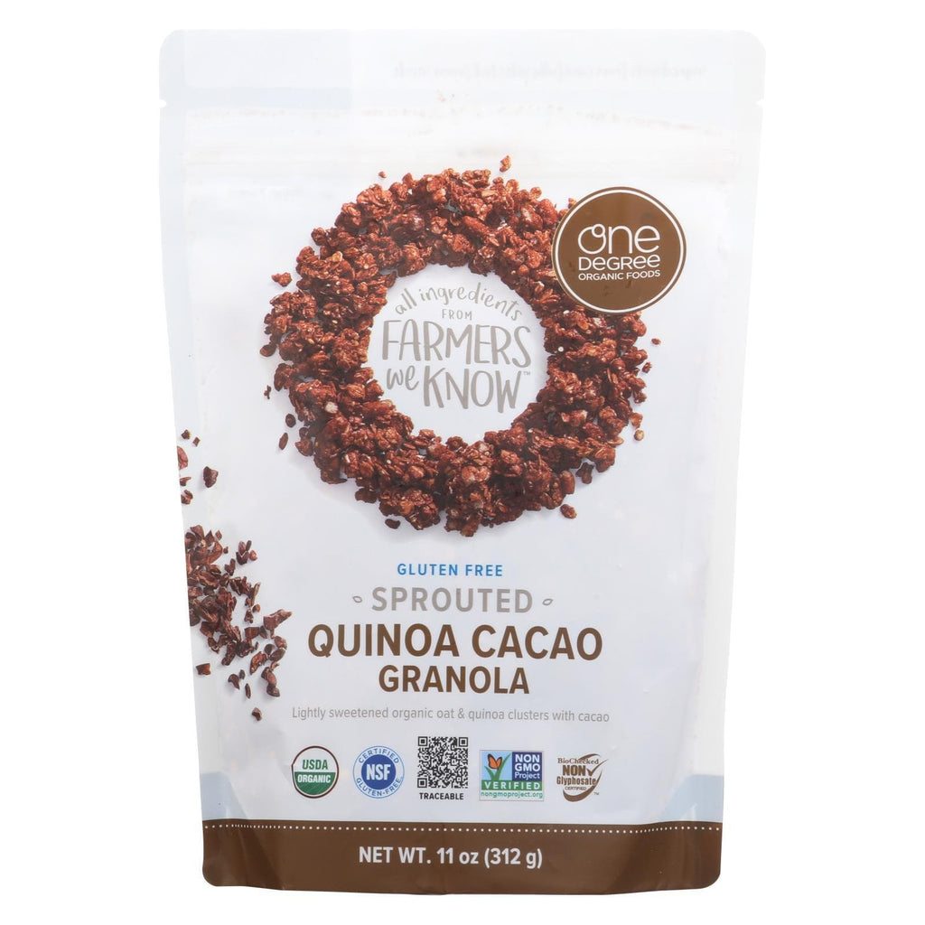 One Degree Organic Foods Nuts, Seeds & Granola One Degree Organic Foods Quinoa Cacao Granola - Sprouted Oat - Case Of 6 - 11 Oz.