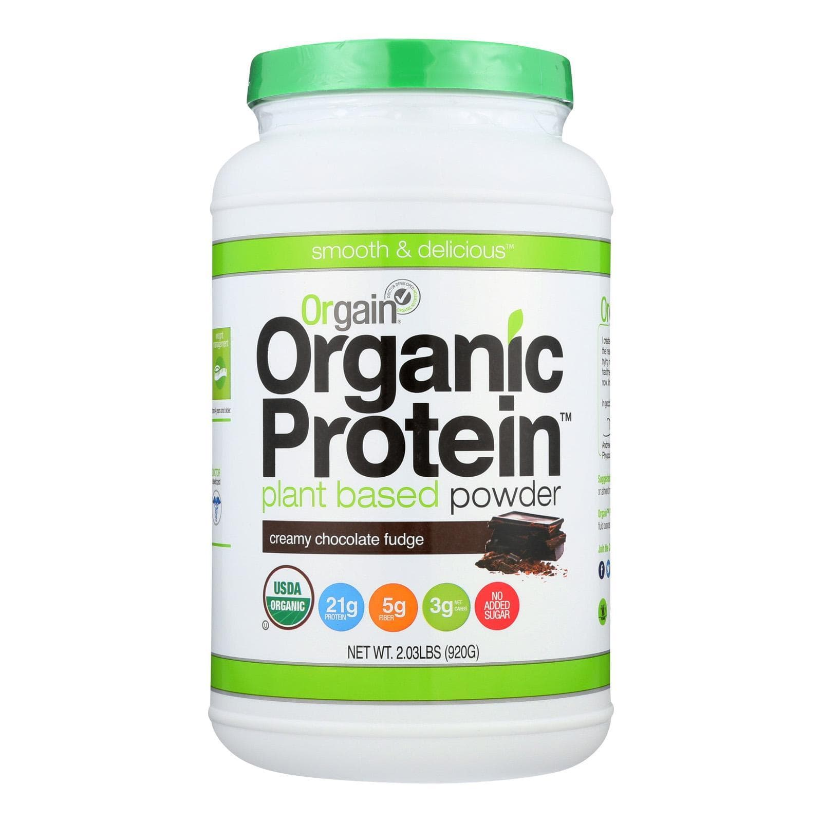 Orgain Sports And Fitness Orgain Organic Protein Powder - Plant Based - Creamy Chocolate Fudge - 2.03 Lb