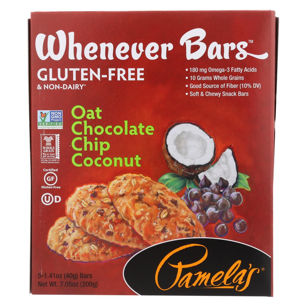 Pamela's Products Chocolate Pamela's Products Oat Chocolate Chip Whenever Bars - Coconut - Case Of 6 - 1.41 Oz.
