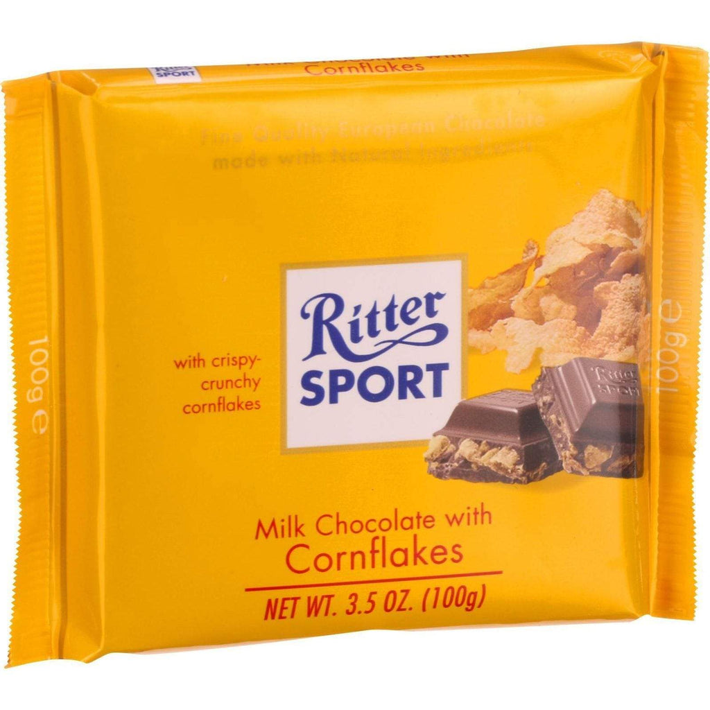 Ritter Chocolate Ritter Sport Chocolate Bar - Milk Chocolate - Corn Flakes - 3.5 Oz Bars - Case Of 10