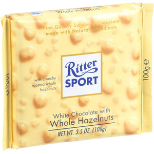 Ritter Party Snacks Ritter Sport Chocolate Bar - White Chocolate - Whole Hazelnuts - 3.5 Oz Bars - Case Of 10