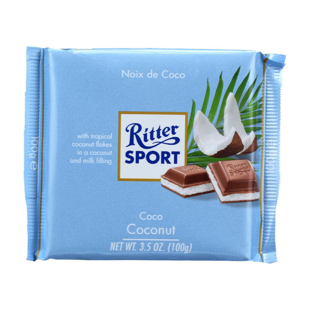 Ritter Sport Chocolate Ritter Sport Chocolate Bar - Milk Chocolate - Coconut - 3.5 Oz Bars - Case Of 12