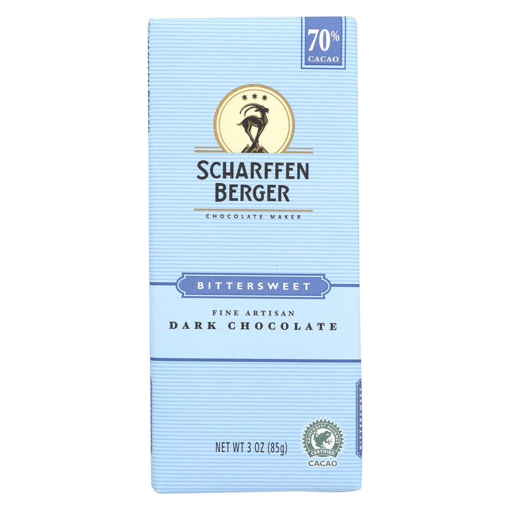 Scharffen Berger Chocolate Scharffen Berger Chocolate Bar - Dark Chocolate - 70 Percent Cacao - Bittersweet - 3 Oz Bars - Case Of 12