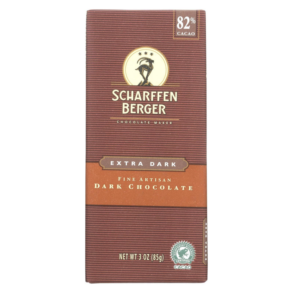 Scharffen Berger Chocolate Scharffen Berger Chocolate Bar - Dark Chocolate - 82 Percent Cacao - Extra Dark - 3 Oz Bars - Case Of 12