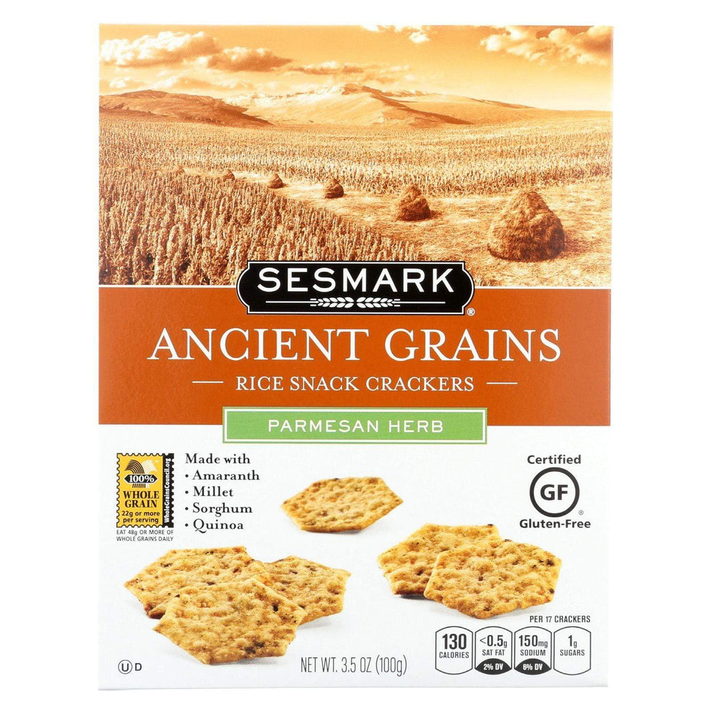 Sesmark Foods Crackers & Crispbreads Sesmark Foods Ancient Grains Crackers - Parmesan - Case Of 6 - 3.5 Oz