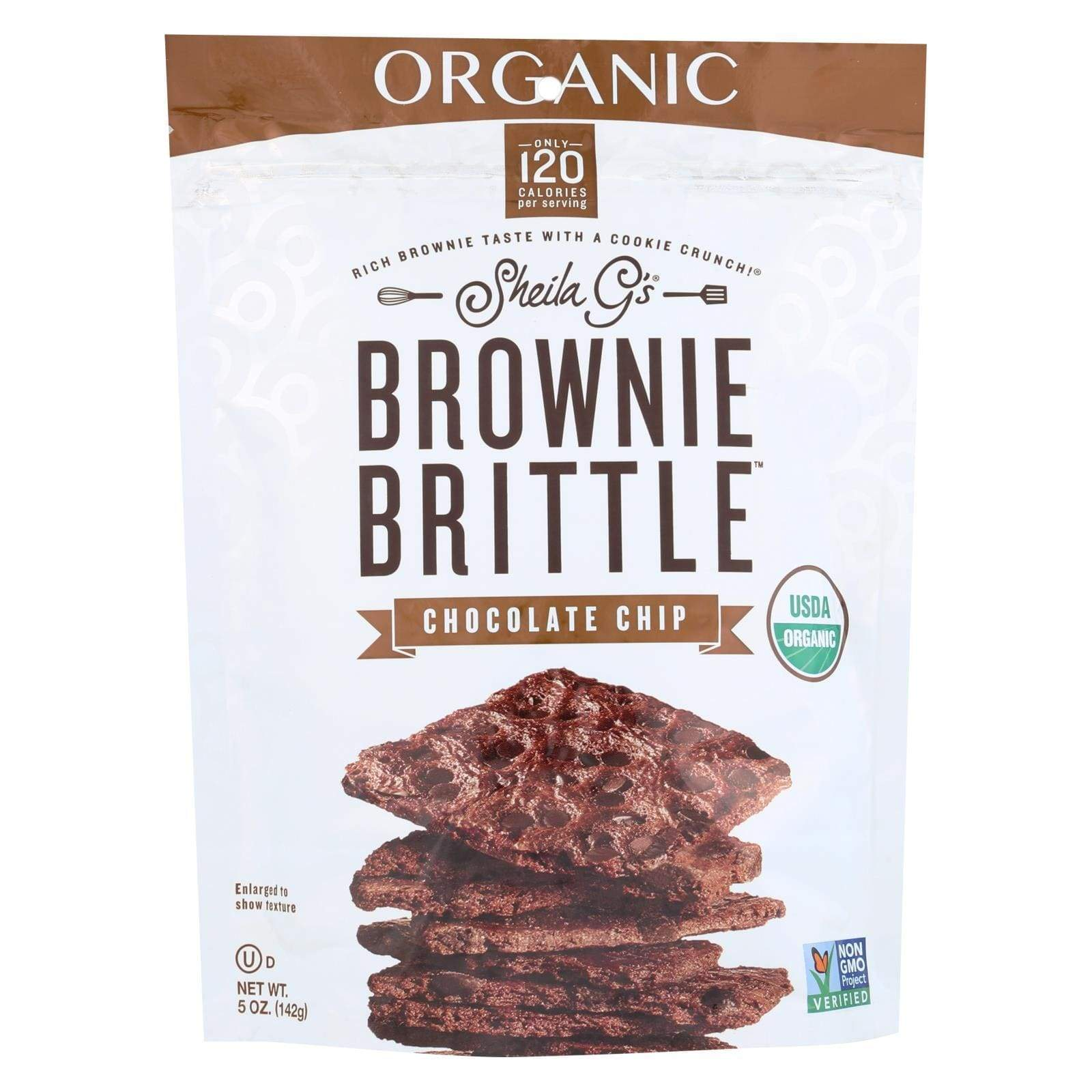 Sheila G's Cookies & Pastries Sheila G's Organic Brownie Brittle - Chocolate Chip - Case Of 12 - 5 Oz.