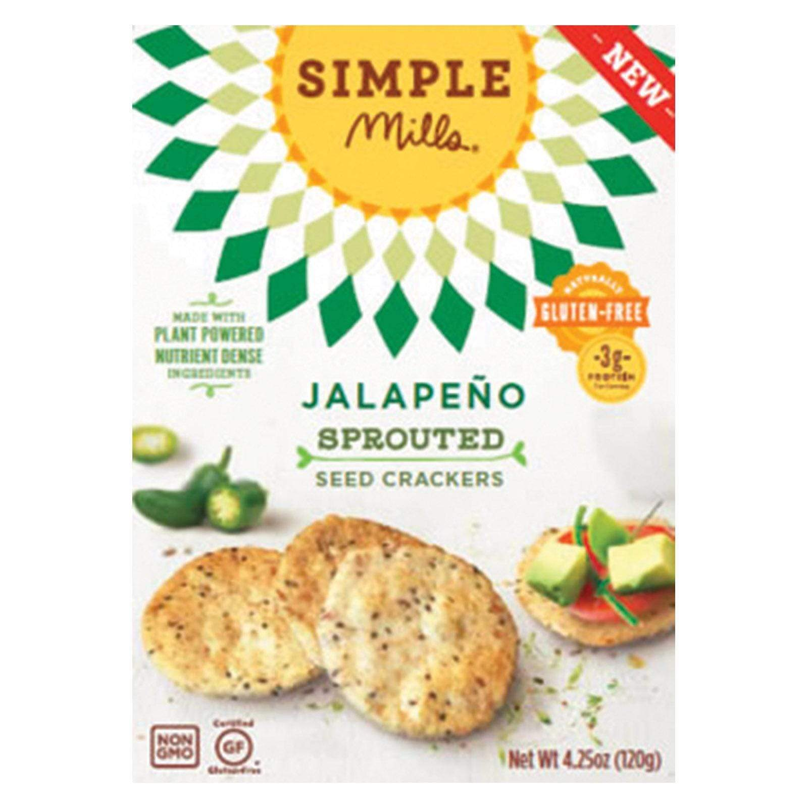 Simple Mills Crackers & Crispbreads Simple Mills Sprouted Seed Crackers - Jalapeno - Case Of 6 - 4.25 Oz