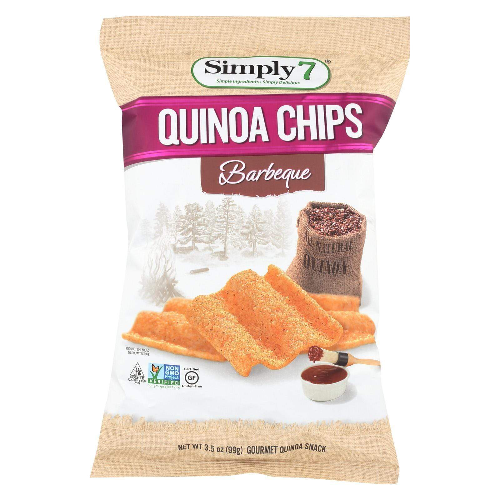 Simply7 Chips, Pretzels & Popcorn Simply 7 Quinoa Chips - Barbecue - Case Of 12 - 3.5 Oz.