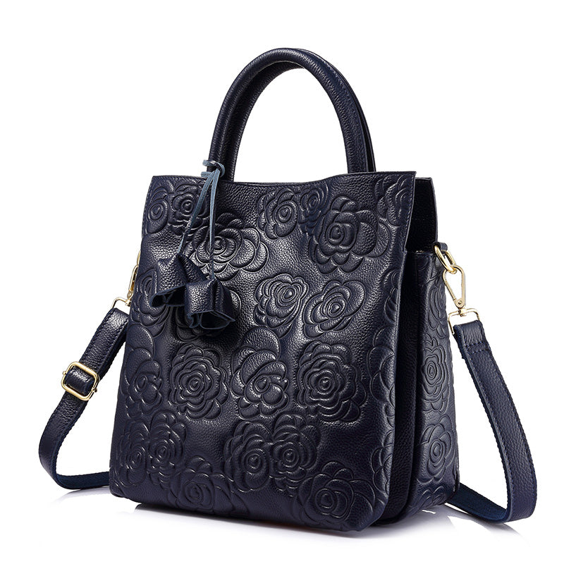 REALER brand genuine leather handbag female leather black tote bag high  quality floral embossed handbag ladies d83b39fe6accf