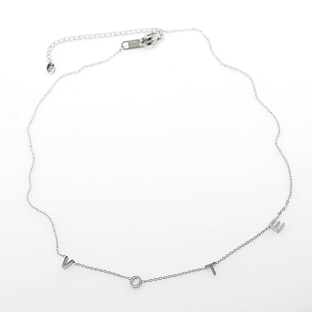 Good Works Stainless Steel Vote Necklace - SIlver