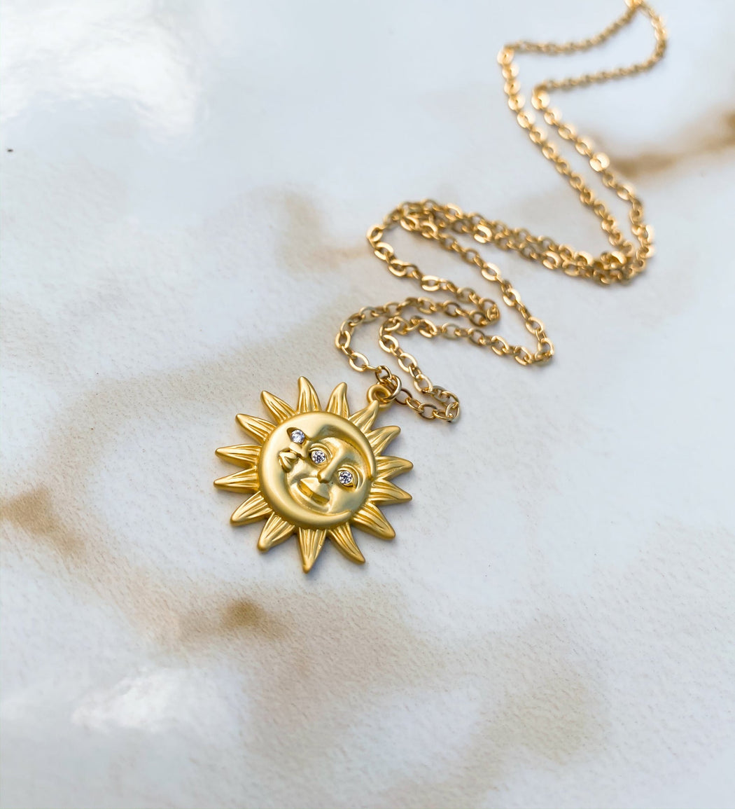 Rune + Light Gold Filled Sun & Moon Pendant