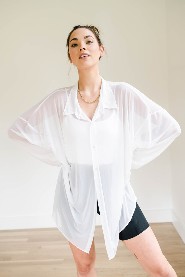 BOYFRIEND BUTTON UP - White