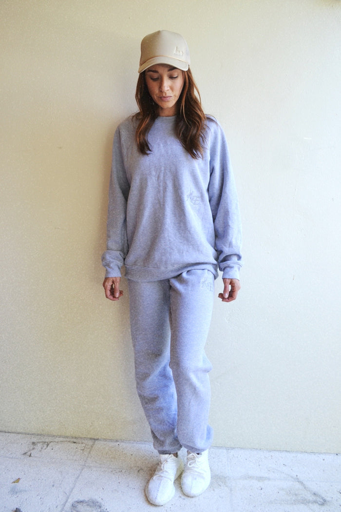 KE SWEAT SET TOP - heather grey