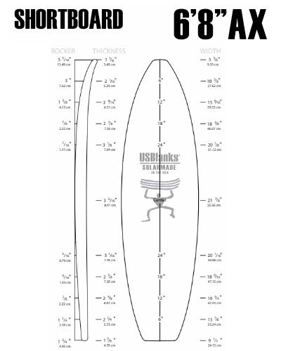 "6'8""AX US Blanks - Shortboard Blank"