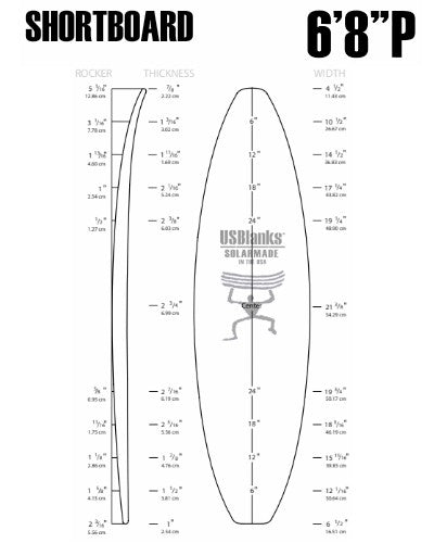 "6'8""P US Blanks - Shortboard Blank"
