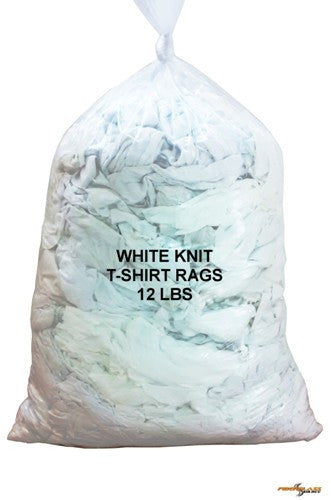 White Knit Wiping Rags - 12 lbs Bag