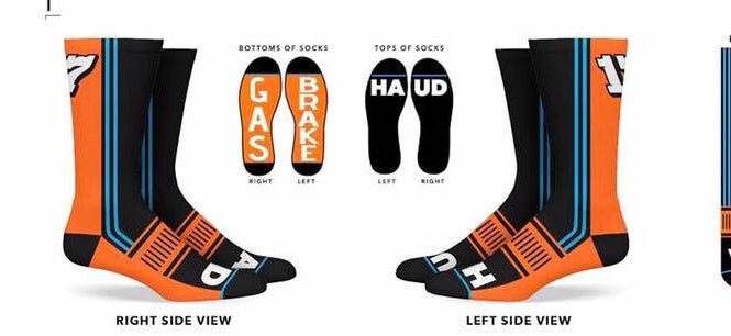 """GAS/BRAKE"" Orange and Blue Socks"