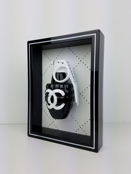 "Framed Black Chanel Grenade 6"" x 8"""