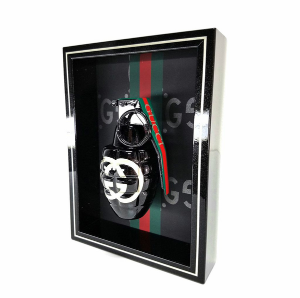 "Framed Black Metallic Gucci  Grenade 6"" x 8"""