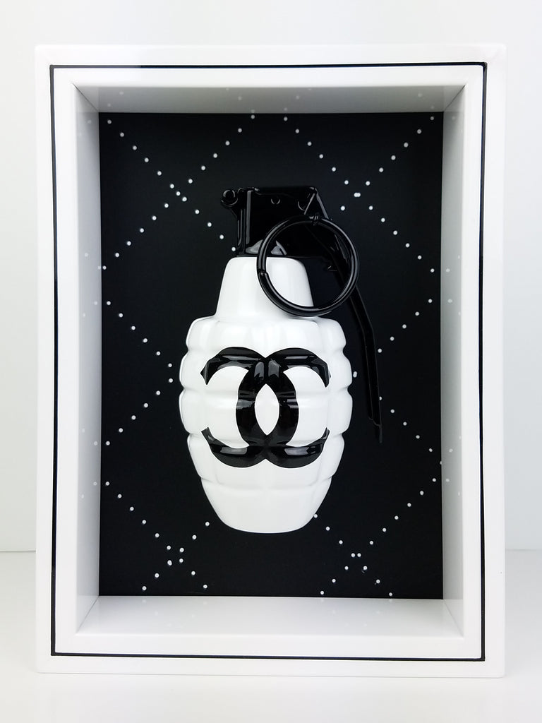 "Framed White Chanel Grenade 6"" x 8"""