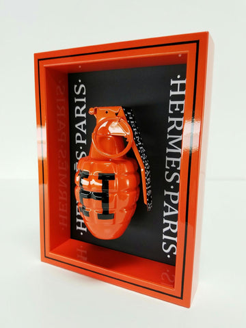 "Framed Orange Hermes  Grenade 6"" x 8"""