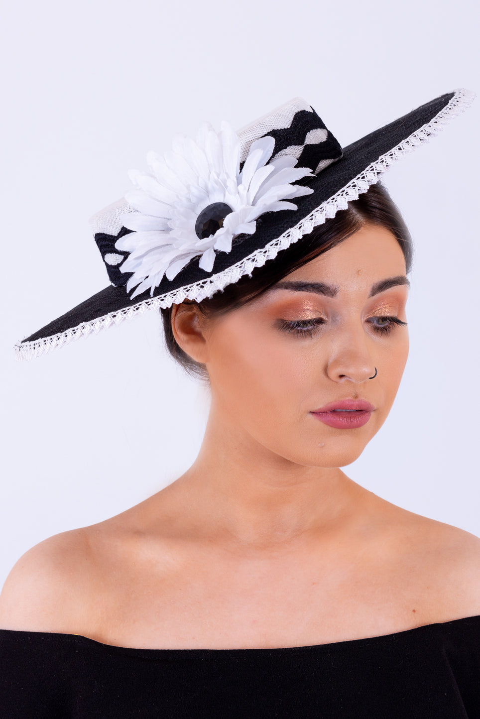 Boater Headpiece | Black & White