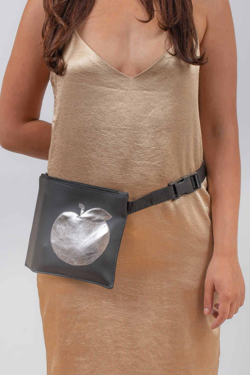 Bum Bag | Black With Silver Apple