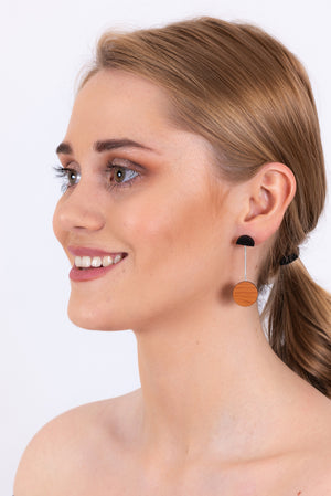 Circle Drop Earrings | Wood & Silver