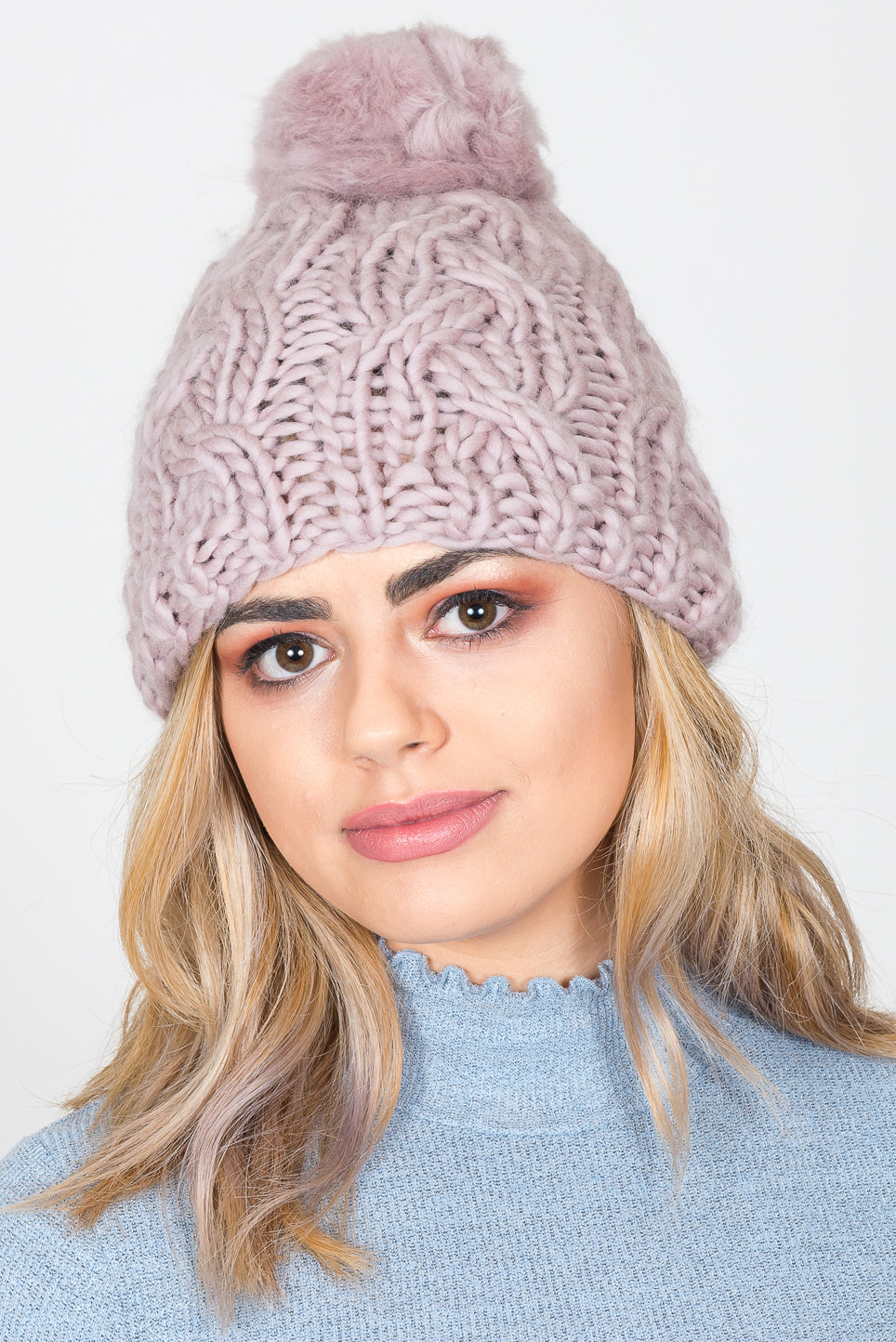 Plait Knit Bobble Hat | Mink