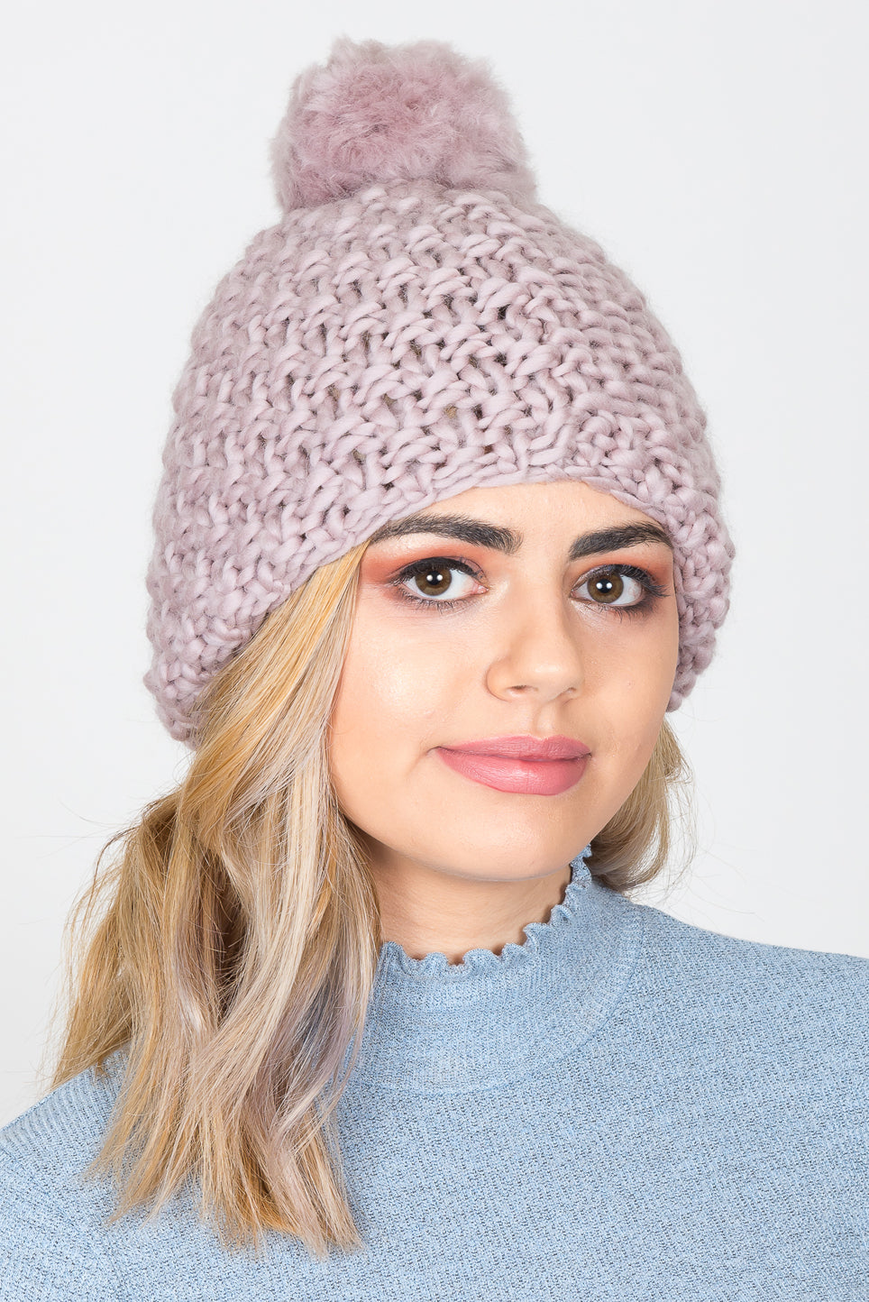 Knitted Bobble Hat | Mink