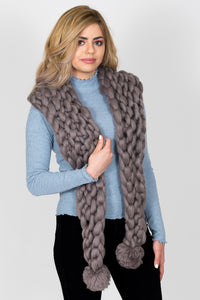 Chunky Knit Scarf With Pom Pom's | Pewter