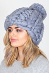 Chunky Knit Bobble Hat | Ash Grey