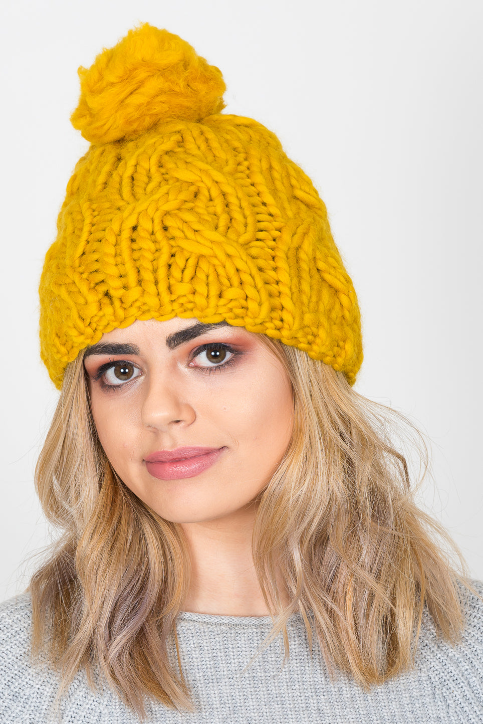 Plait Knit Bobble Hat | Mustard Yellow