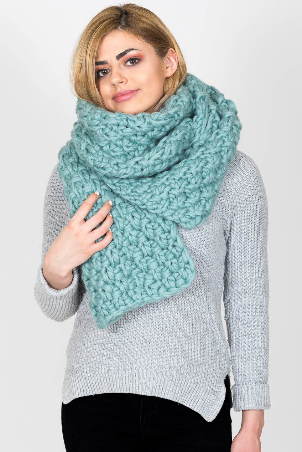 Oversized Chunky Knit Scarf | Teal